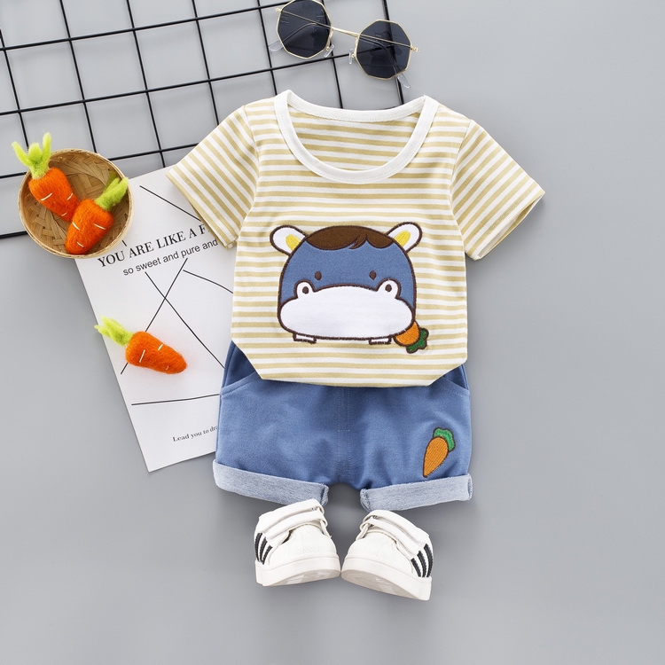 Striped cow two-piece children's clothing men and women baby summer two-piece