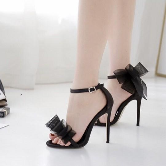 FREE SHIP Giày cao gót / Sandal cao gót nhọn 9p phối nơ cực xinh