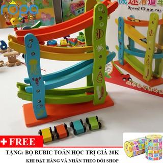 Đồ chơi gỗ, Xe Cầu Trượt Oto 4 Tầng Cho Bé