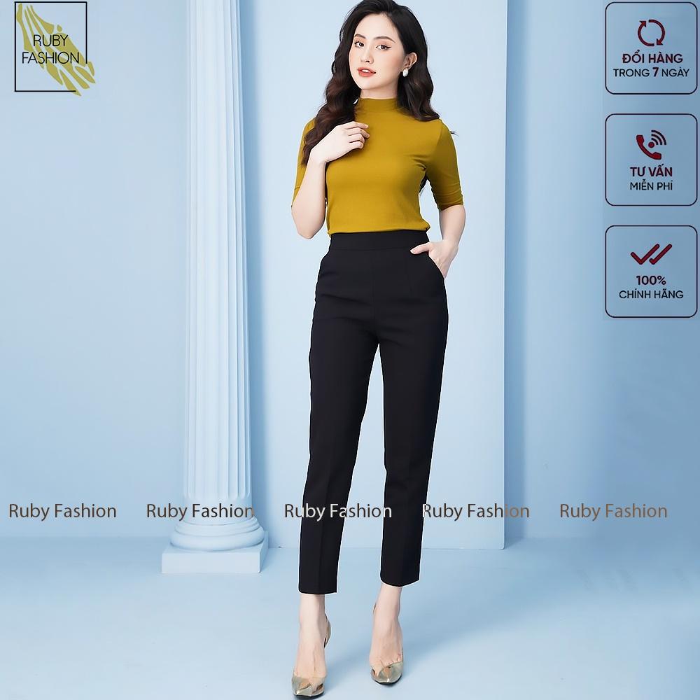 Mặc gì đẹp: Đẹp với Quần baggy nữ Ruby Fashion cạp chun sau baggy vải công sở cạp cao dáng chuẩn thanh lịch