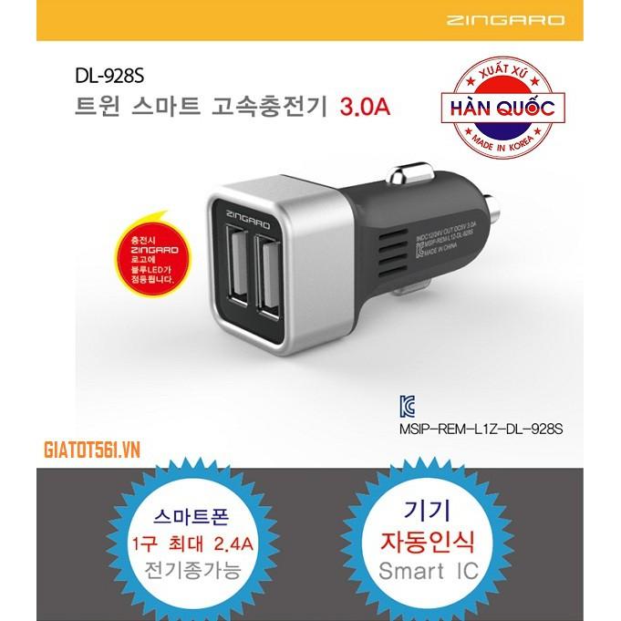 Chân sạc nhanh đôi 3.0A Zingazo Korea DL-928S cho ô tô