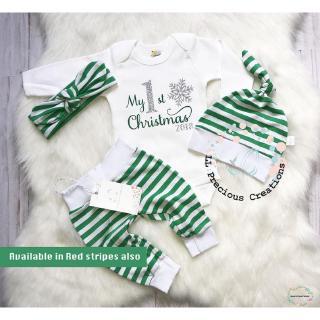 Set quần áo dài tay + mũ kèm băng đô phối kẻ sọc họa tiết Giáng Sinh cho bé
