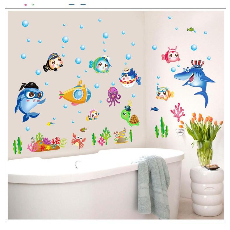 Decal trang trí cá đại dương- Decal trang trí dán tường- giúp bé phát triểm trí tuệ