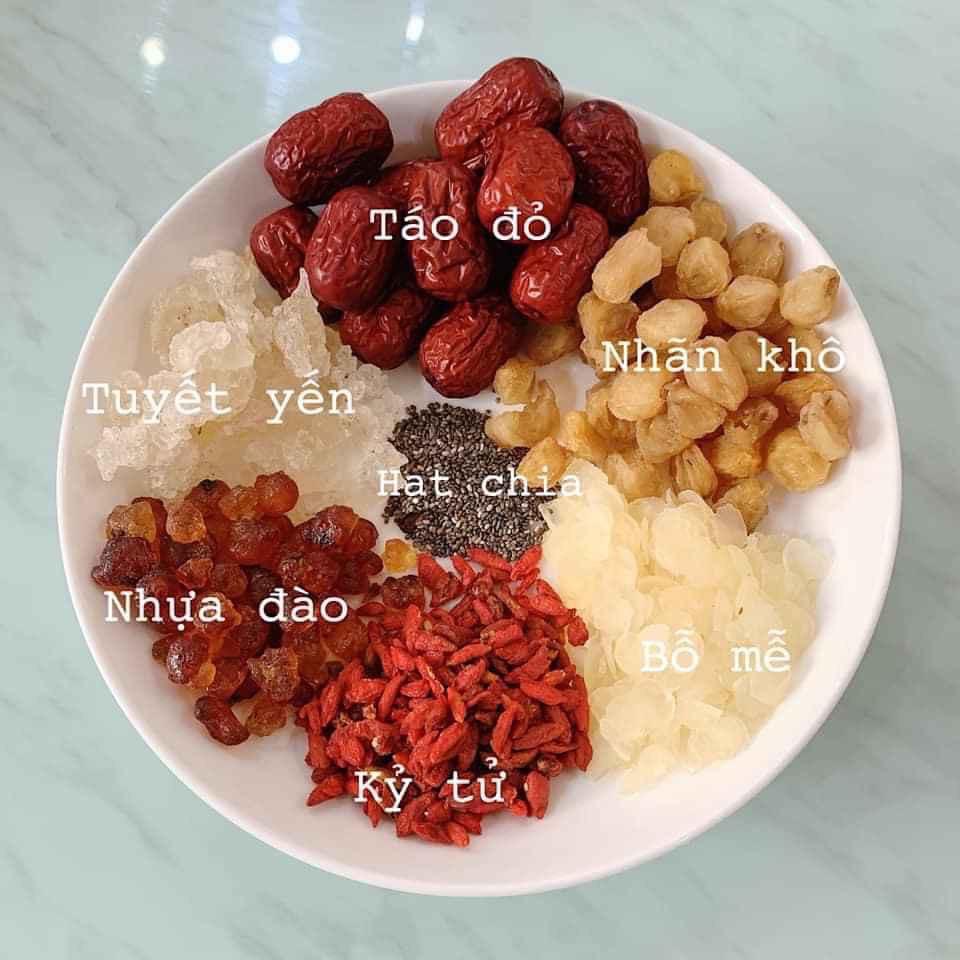 [Mã GROSALEHOT giảm 8% đơn 250K] Set Chè Dưỡng Nhan Tuyết Yến 10 vị Nấu 4 người ăn
