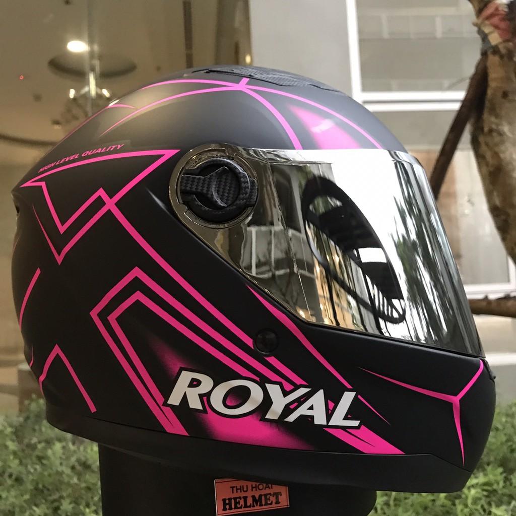 Mũ bảo hiểm Royal M136 V25 hồng (kính gương)
