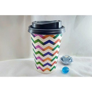 50 Ly Giấy In Hình Color 12oz 300ml Có Nắp Ly giấy cafe Ly giấy đựng cà phê Cốc giấy Cốc giấy cafe thumbnail