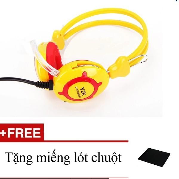 VK-Line V2k - Tai nghe (Vàng) + Tặng miếng lót chuột