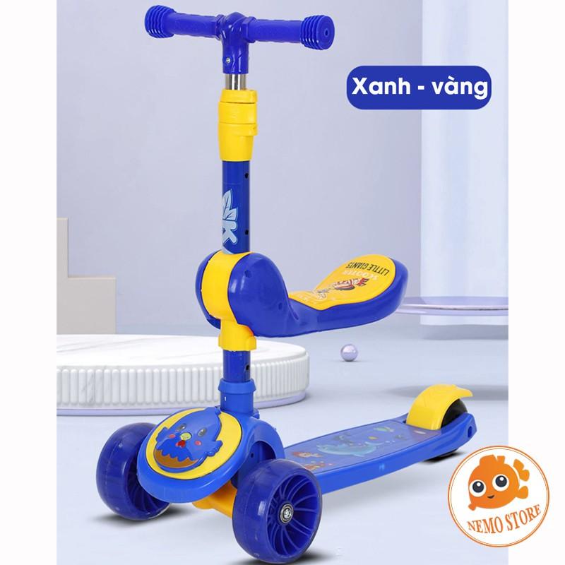 Xe scooter cho bé trượt chòi chân 3 bánh phát sáng gấp gọn có ghế ngồi SC084