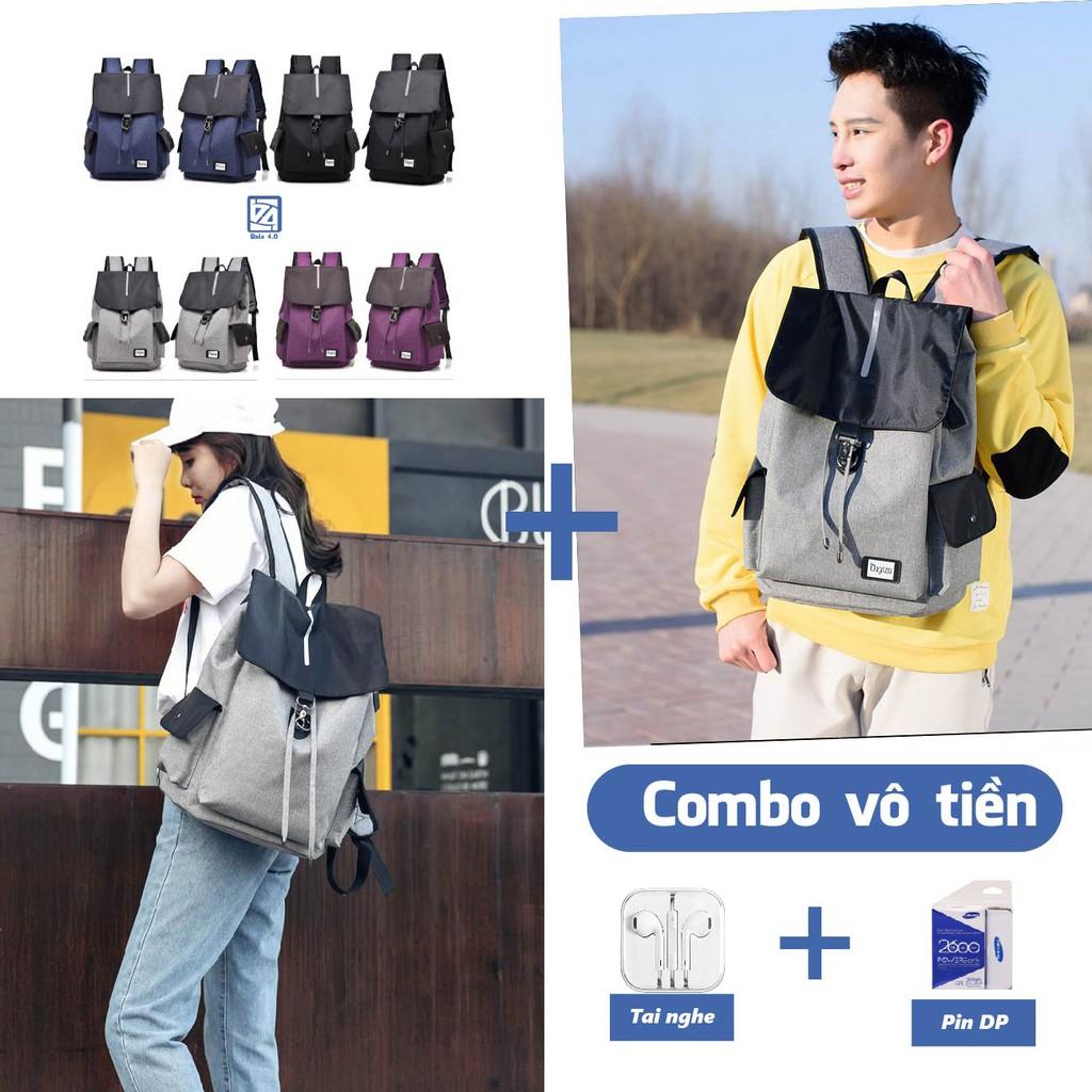 Balo Combo 2 Balo thời trang đi học laptop kèm một pin dự phòng và Tai nghe Fu