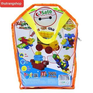 bộ xếp hình ghép hình 32 chi tiết đồ chơi nhựa an toàn chính hãng sato