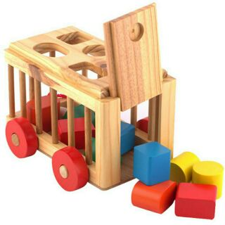 Xe thả hình gỗ 3D trí tuệ giáo dục cho bé loại 1