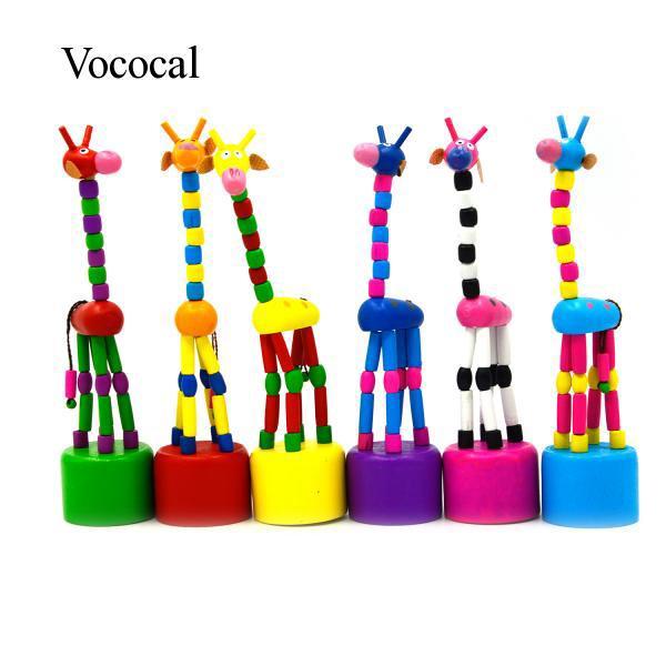 Cartoon Animal Dancing Standing Wooden Magic Spring Toy Quantity 1 Random Color
