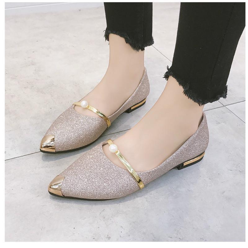 Mới Giày Búp Bê Mũi Nhọn Đính Kim Sa Lấp Lánh Thời Trang Cho Nữ