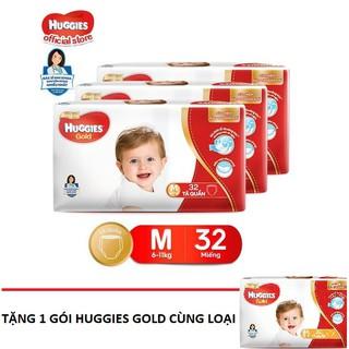 Combo 3 Tã quần cao cấp Huggies GOLD M32 L28 Tặng 1 gói tã dán Huggies Gold cùng loại [Hàng mới]
