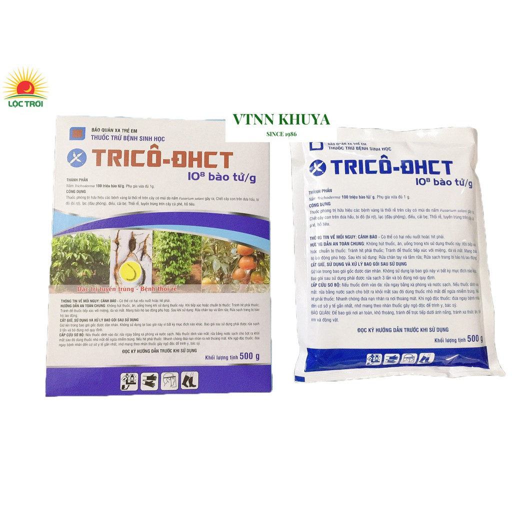 Thuốc trừ bệnh vi sinh nấm Trichoderma Trico ĐHCT 500gram mẫu mới