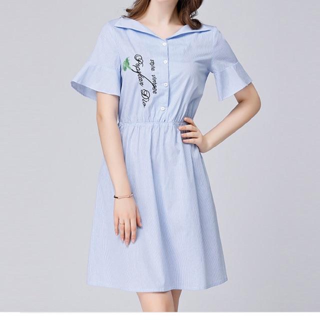 Đầm big size sọc cổ bẻ chữ V in chữ size lớn 65-100kg