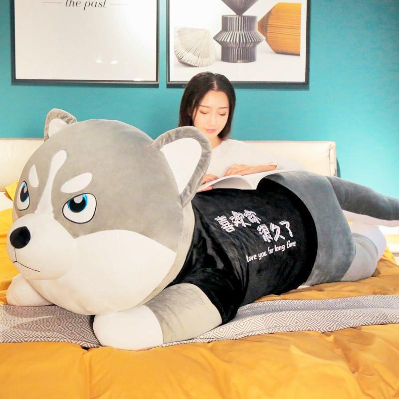 Chó, Mèo Husky Bông Siêu To Khổng Lồ – Chất Liệu Lông Nhung Mềm Mịn Co Dãn 4 Chiều – Gấu Bông Chó Husky