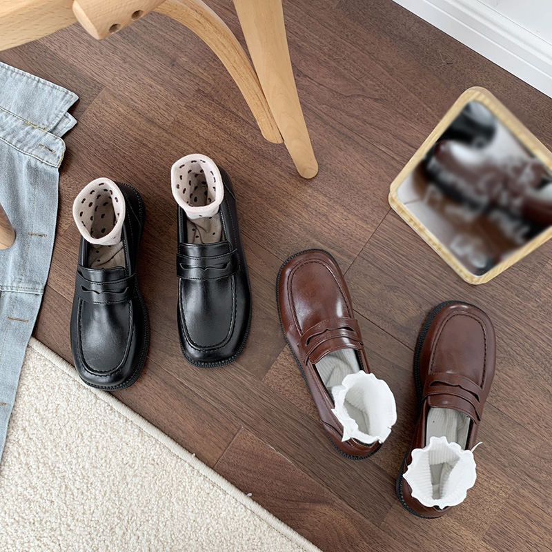 Giày lười đế phẳng bằng da thời trang Nhật Bản cho nữ