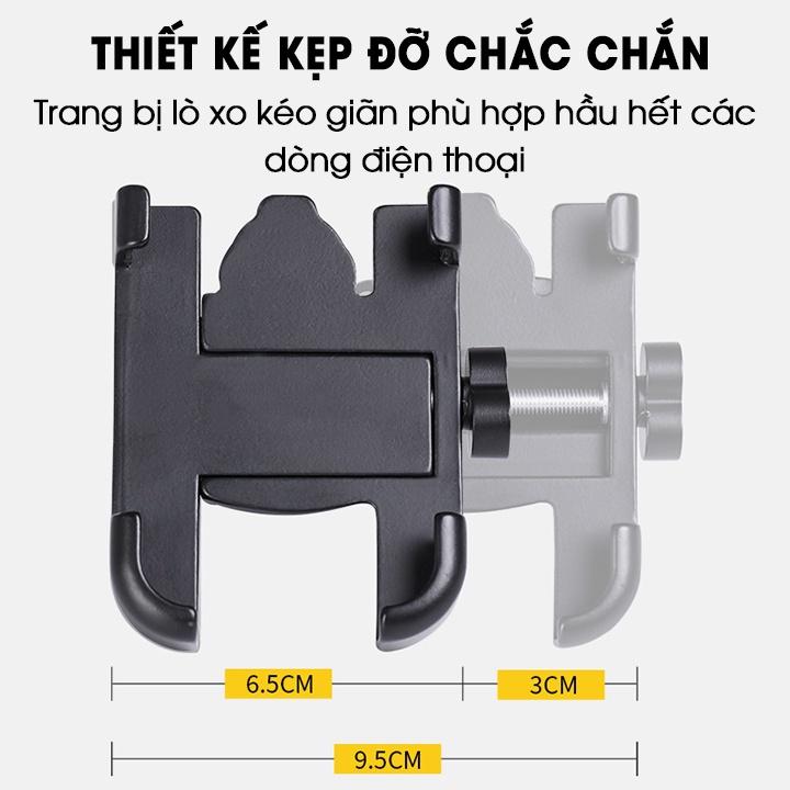 Giá Đỡ Kẹp Điện Thoại Bằng Kim Loại Dành Cho Xe Máy C2 gắn chung với kính xe thích hợp Shipper, Xe Công Nghệ, Grap, Now