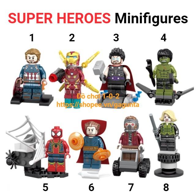 Lego Mô Hình Iron Man, Thor, Spiderman, Captain America, Hulk, Black Widow 8 nhân vật Infinity War SY