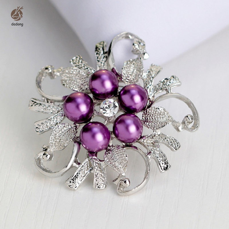 Simple Fashion Brooch Rhinestone Pearl Flower Alloy Pin Women Bags Clothing Hats Scarves Corsage Jew