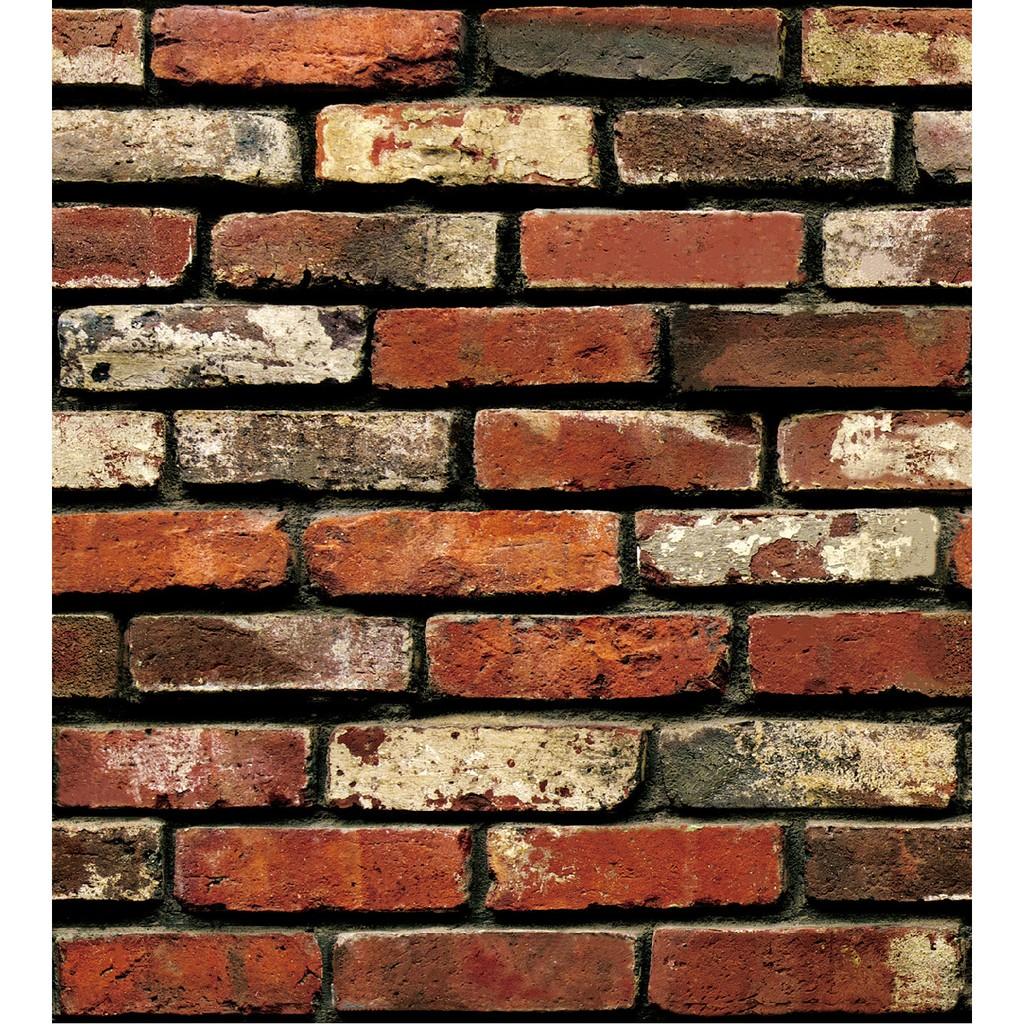 Giấy dán tường gạch 3D đỏ - khổ rộng 0.45m
