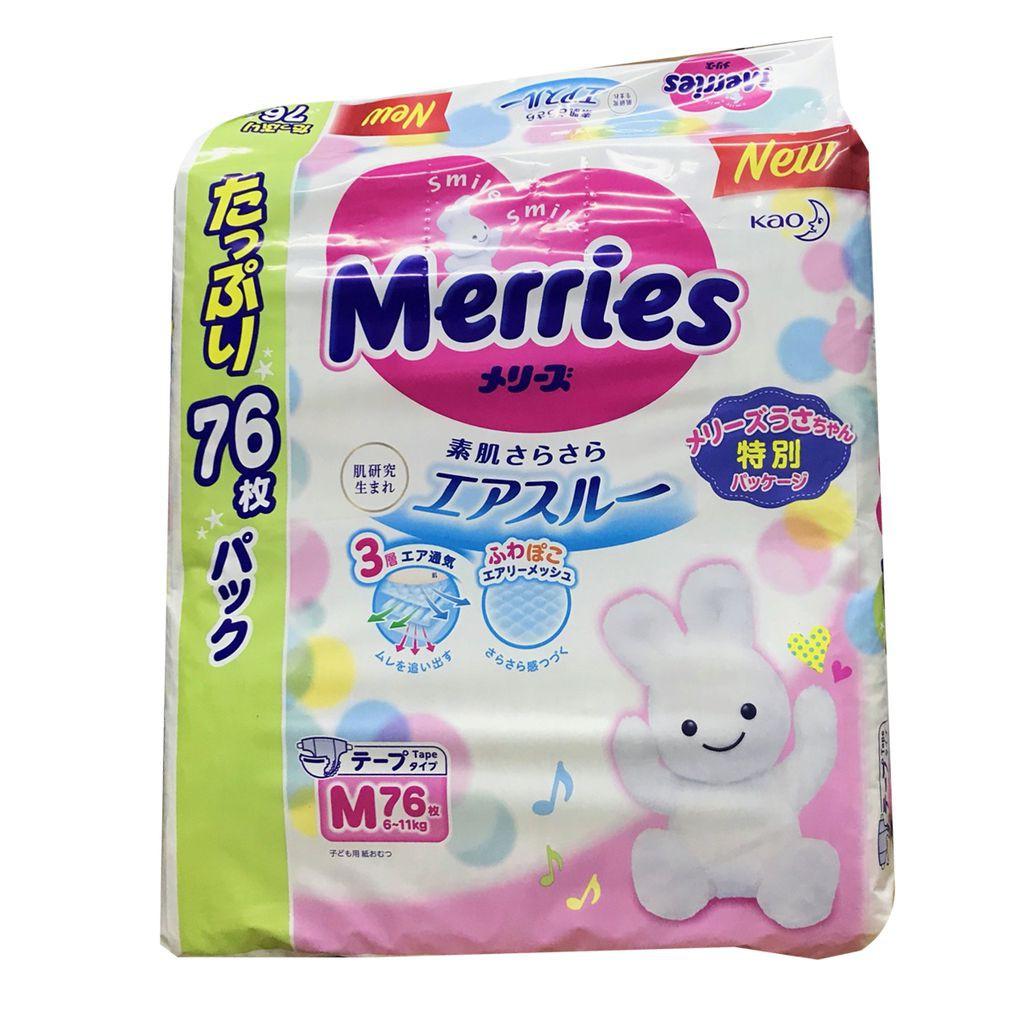 Tã dán/quần Merries jumbo M76 L6