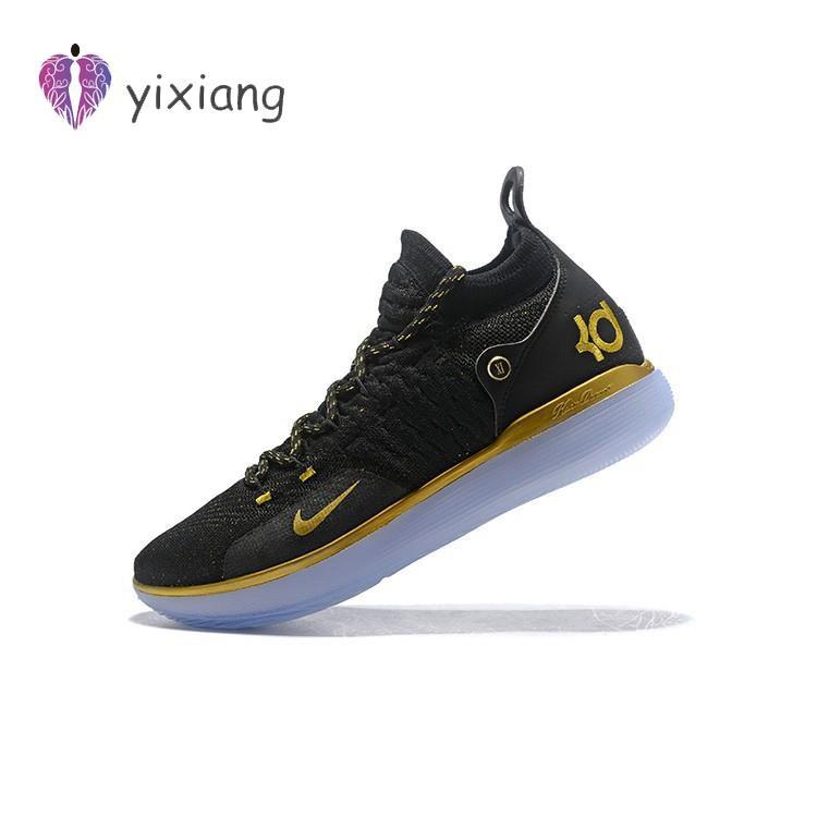 KSK@ Nike Zoom KD 11 รองเท้าบาสเก็ตบอลสีดำและทองสำหรับผู้ชาย