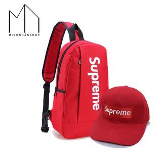 Combo túi đeo chéo thời trang và nón lưỡi trai kiểu dáng Supreme (Đỏ) thumbnail
