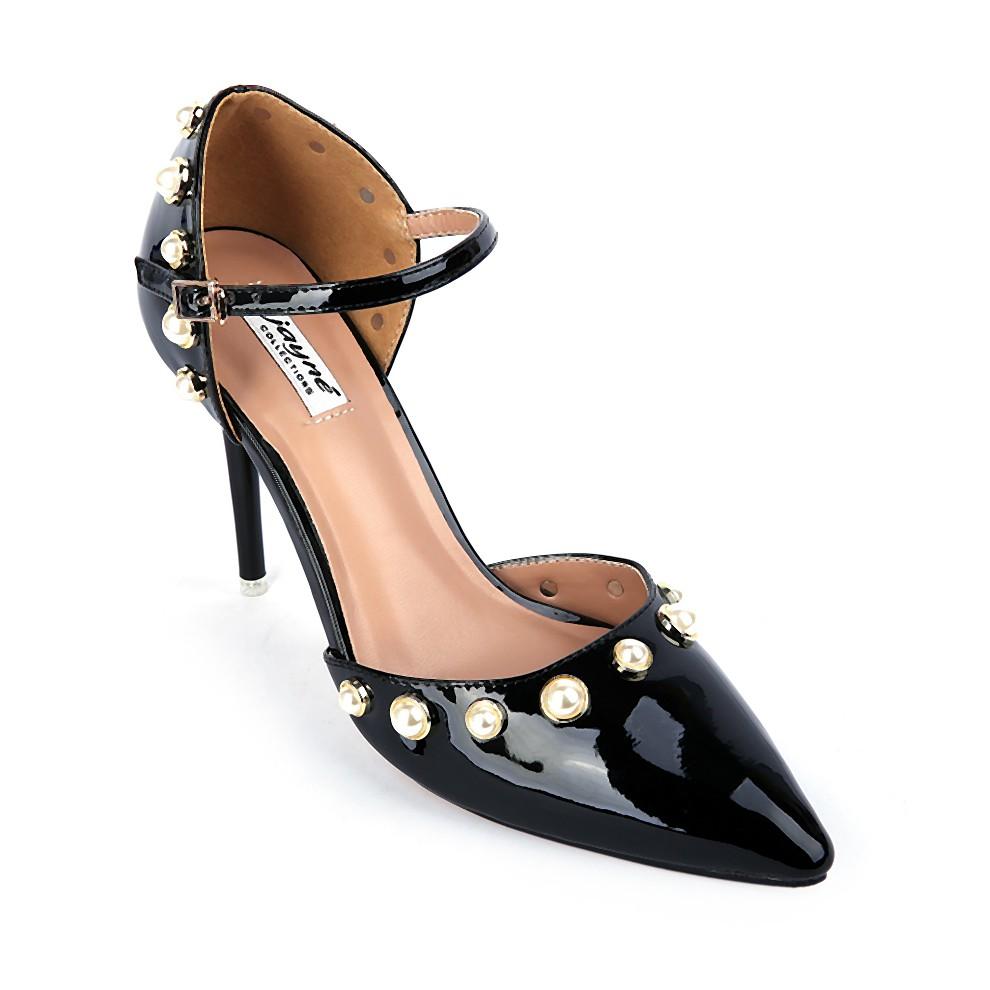 Sandals cao gót nữ FJ6021 màu đen bóng