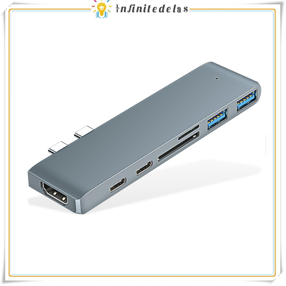 Thiết bị chuyển đổi 7 trong 1 từ 2 cổng USB C sang 4K HDMI 2 cổng USB 3.1