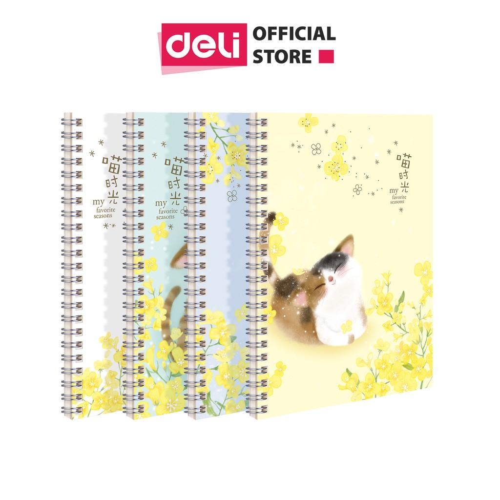 Sổ tay ghi chép A5 gáy xoắn 60 trang Deli - Kẻ ngang - Bìa họa tiết Hoa / Mèo / Cá - LA560