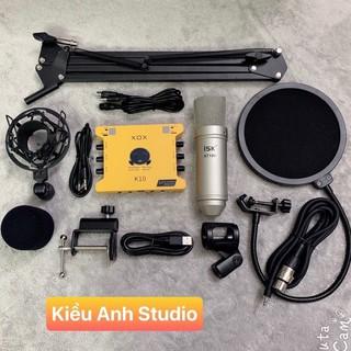 combo bộ hát livestream suond card xox k10 BẢN (2020) mic isk at100 chân kẹp màng lọc dây live  bh 6 tháng đổi mới