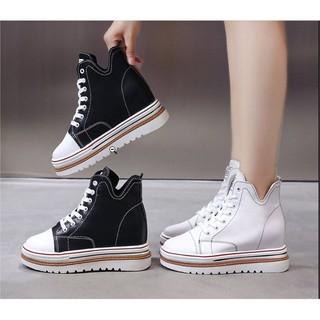 Giày bánh mì da nữ đế độn, dày cột dây, giày cao 8cm phong cách hàn quốc mã giày là BM086 thumbnail