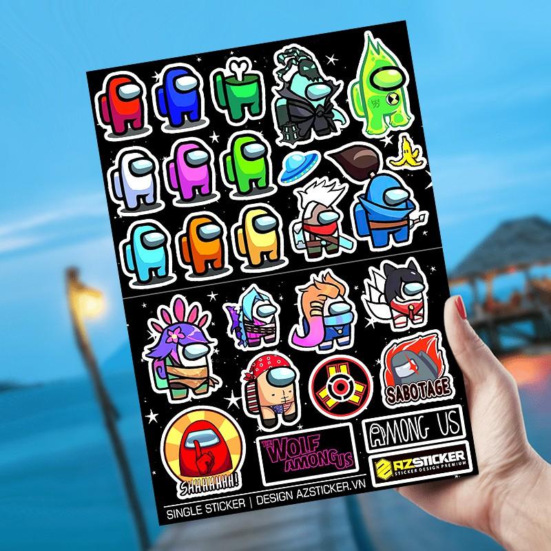 Hình Among us | Sticker Dán Xe, Tem Dán Xe Máy, Xe Điện Chống Thấm Nước, Chống Bay Màu