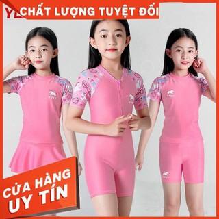 Đồ bơi hồng phấn cho bé gái 3 lựa chọn: quần liền/quần rời/chân váy rời