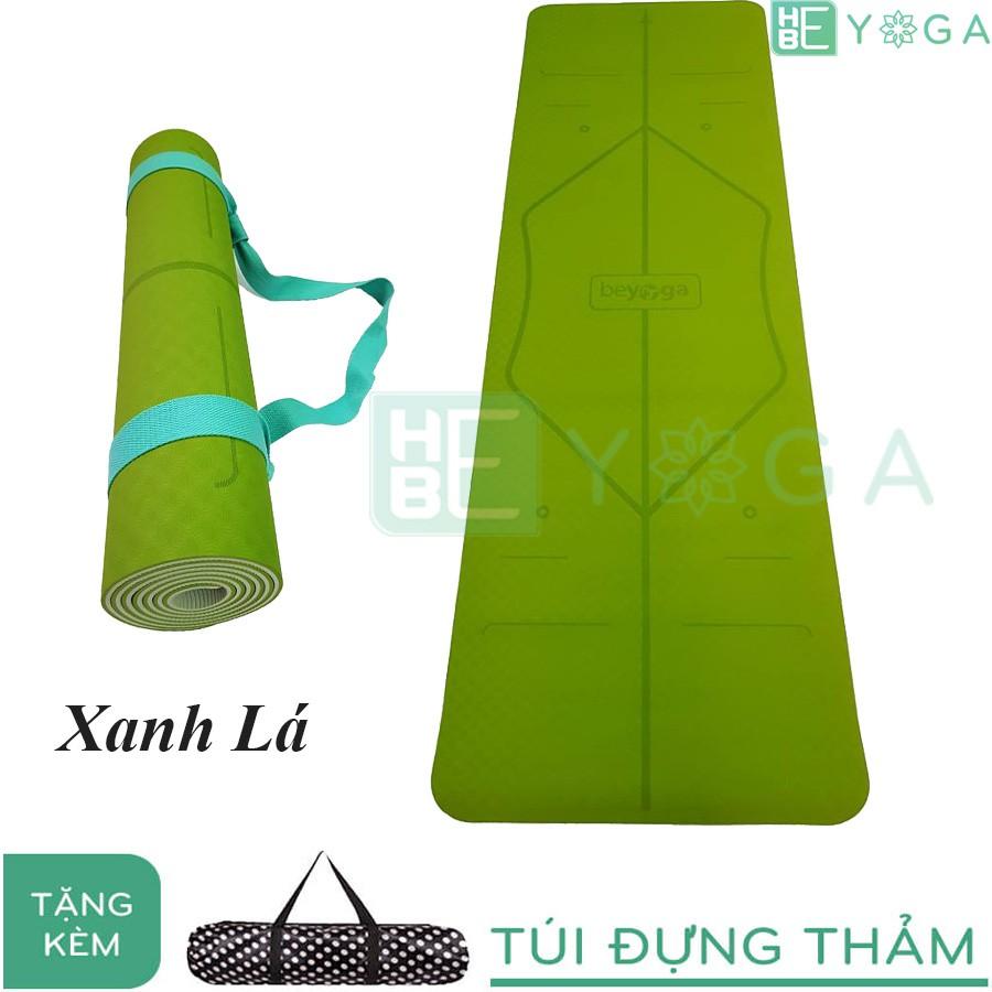Thảm Yoga Định Tuyến TPE 6mm 2 lớp màu Xanh Lá ( Tặng kèm túi )