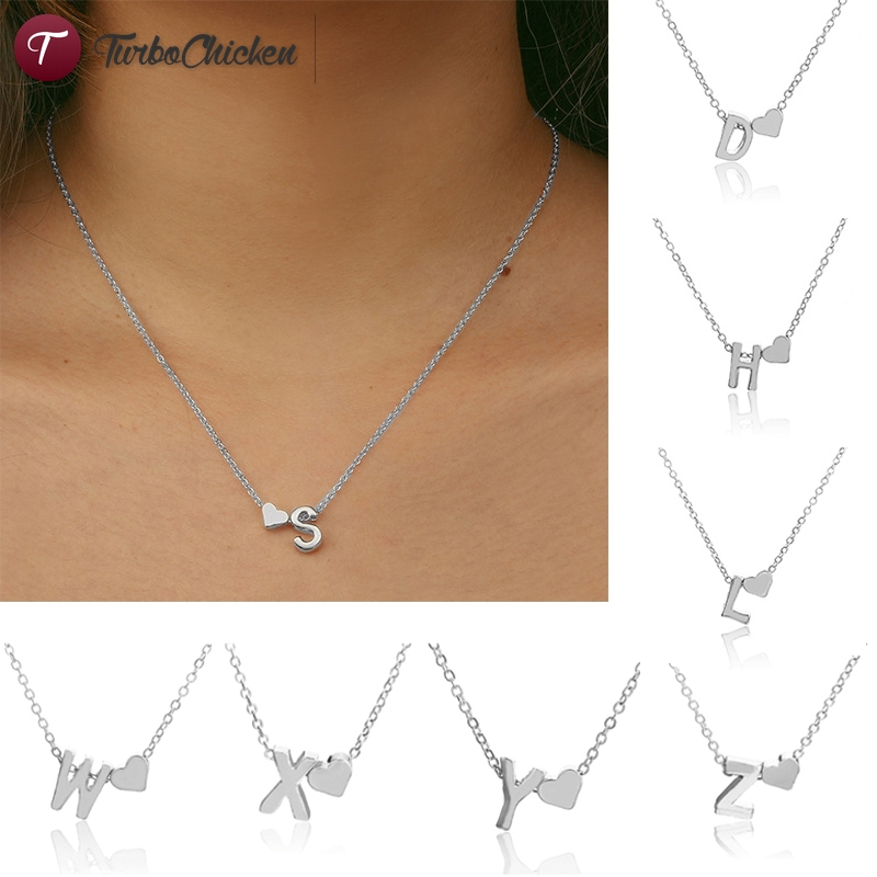 【COD】 Heart English Letter Necklace Women Short Clavicle Chain Female Jewelry