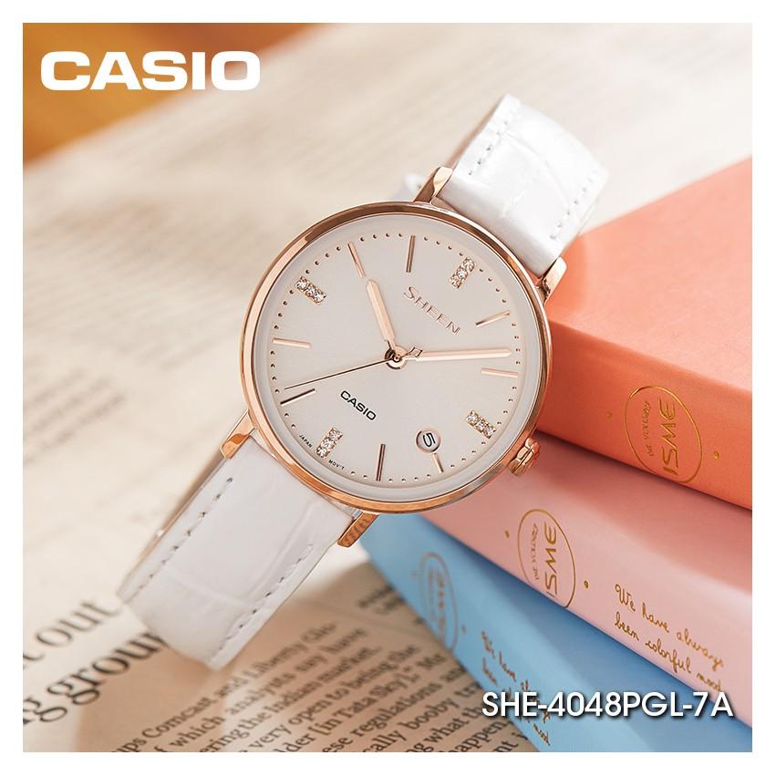 Đồng Hồ Casio Nữ Dây Da SHEEN SHE-4048PGL-7A Chính Hãng