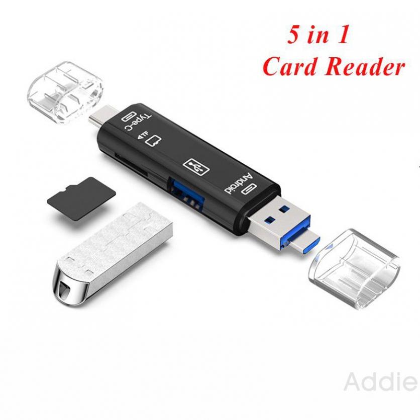 Đầu đọc thẻ 5 trong 1 thiết kế đa năng tiện dụng có cổng kết nối Type C Micro USB có thể đọc các loại USB thẻ nhớ SD TF