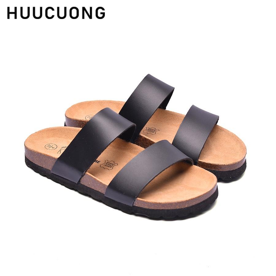 Dép HuuCuong 2 quai đen đế trấu