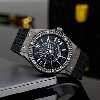 Đồng hồ nam Hublot mặt tròn size 42 caro cao cấp dây da chống nước DH204 shop106