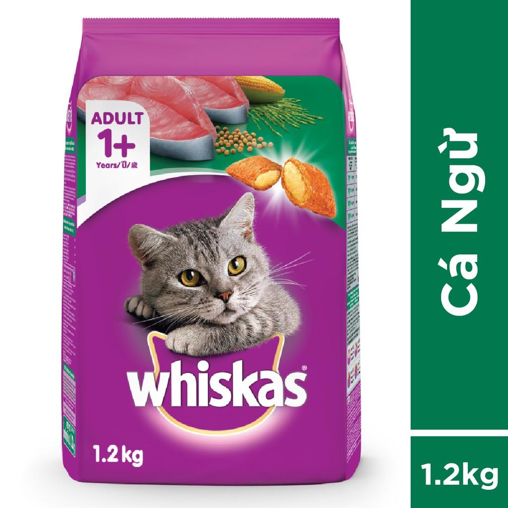 Bộ thức ăn dạng hạt dành cho mèo lớn Whiskas vị cá ngừ 1.2kg + 6 túi pate cho mèo lớn Whiskas vị cá ngừ 85g