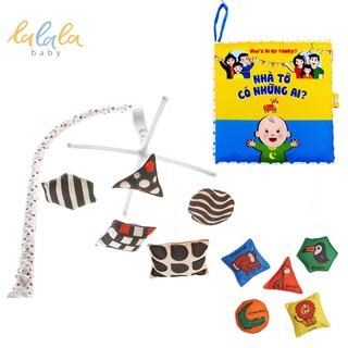 Set đồ chơi cho trẻ sơ sinh: Treo cũi phát nhạc và sách vải kích thích đa giác quan Lalala baby Nhà tớ có những ai?