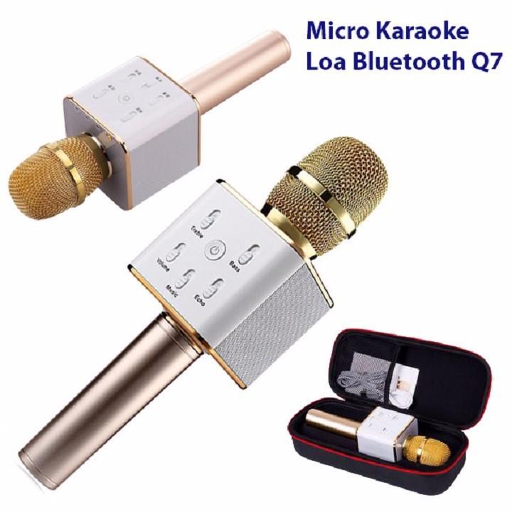 Micro hát Karaoke tích hợp Loa Bluetooth Q7 màu vàng đồng - (tặng đèn led usb xinh xắn)