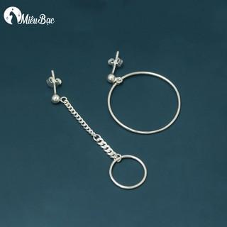 Khuyên tai nữ Miêu Bạc tròn lệch phong cách thời trang Ulzzang Unisex - B000067