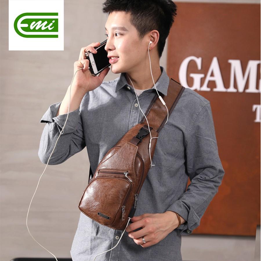 Túi đeo chéo nam nữ mini bằng da mềm mại bền bỉ có chỗ gắn sạc tai nghe hottrend EMIBE90