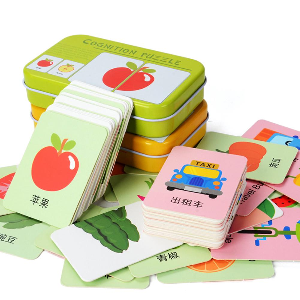 Toy With Iron Box Wooden Pairing Funny Colorful Anti Slit Early Education Cartoon Animal Vehicle Fruit Cognition Card