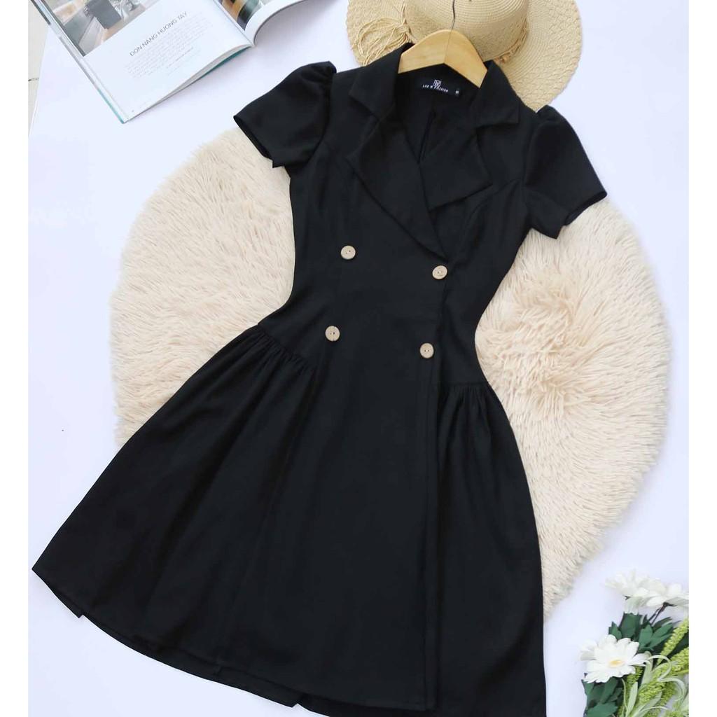 Mặc gì đẹp: Sang trọng với Đầm dự tiệc nữ thiết kế dáng xòe tay ngắn cổ vest cao cấp tôn dáng che bụng sáng da (váy thời trang dự tiệc công sở)
