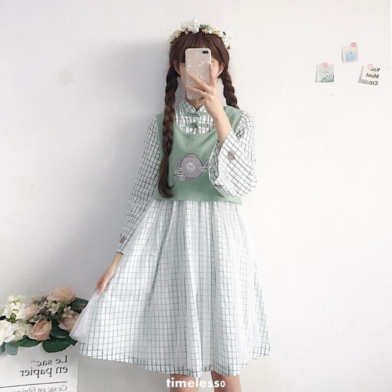 Đầm caro giả 2 lớp form suông xinh xắn cho nữ
